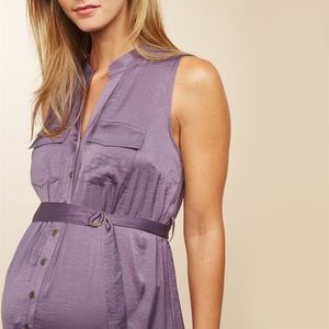 Set of Two Belted Maternity Shirt Dress Sz M